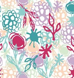 Seamless pattern with flowers leaves spot Sketch vector image vector image