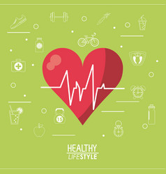color background with heartbeat rhythm and vector image