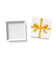 empty open gift box with gold color bow knot and vector image vector image