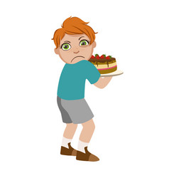 greedy boy not sharing cake part of bad kids vector image vector image