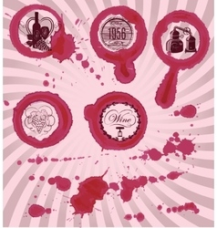 grungy imprints with splashes of wine glasses vector image vector image