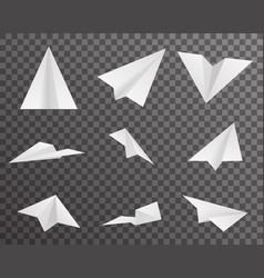 origami paper airplanes icons set symbol vector image vector image