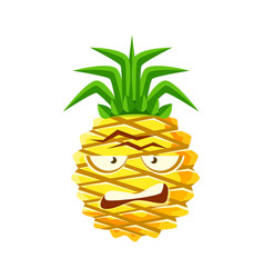 sceptic pineapple face cute cartoon emoji vector image