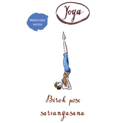 young woman practicing yoga pose birch pose vector image