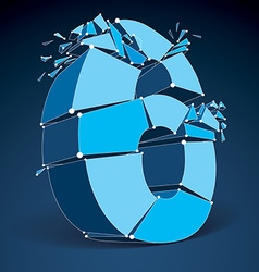 3d low poly blue number 6 with white connected vector image vector image