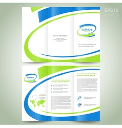 brochure design template green blue line vector image vector image