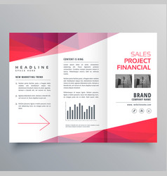 clean red trifold business brochure design vector image vector image