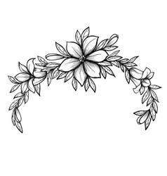 graphic drawing Lily branch with leaves vector image