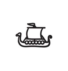 Old ship sketch icon vector
