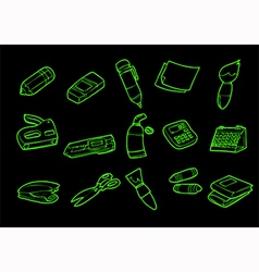 stationery isolate on black vector image