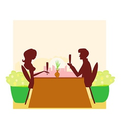 Young couple silhouette flirt and drink champagne vector image vector image