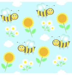 background with bees sunflowers and camomiles vector image