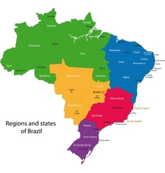 Colorful Brazil map vector image