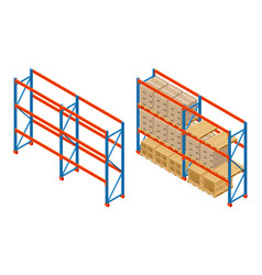 isometric warehouse shelves with boxes and empty vector image