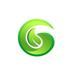 letter G green leaf botany logo vector image