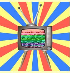 old broken television glitch on retro tv screen vector image vector image