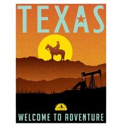 Retro travel poster for texas vector