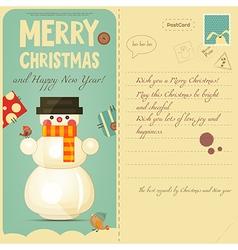 Vintage Postcard with Snowman vector image