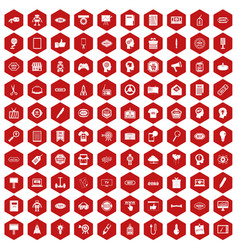100 creative marketing icons hexagon red vector