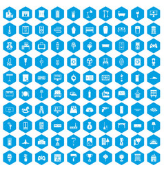100 home icons set blue vector