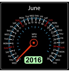 2016 year calendar speedometer car June vector image