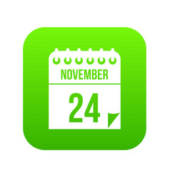 24 november calendar icon digital green vector image