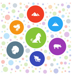 7 africa icons vector