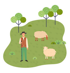 a young shepherd grazes sheep in a park or forest vector image