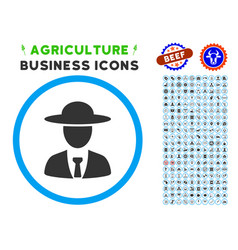 agronomist chief rounded icon with set vector image