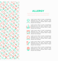 allergy concept with thin line icons vector image