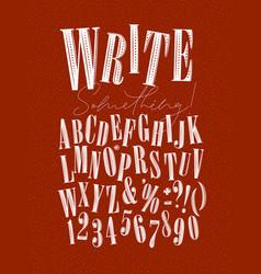 Alphabet pen line style red vector