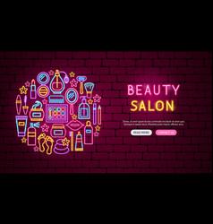 Beauty salon neon banner design vector