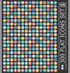 big 300 flat set on color circles black background vector image