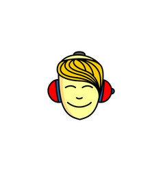 boy listening music vector image