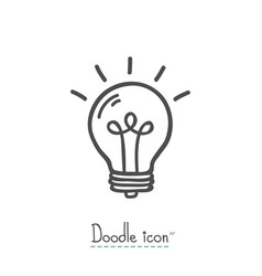 bulb doodle icon vector image