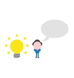 businessman character with glowing light bulb and vector image