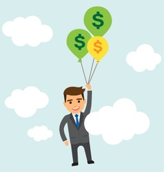 Businessman with balloons in the sky vector