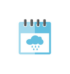 calendar with rainy cloud icon vector image
