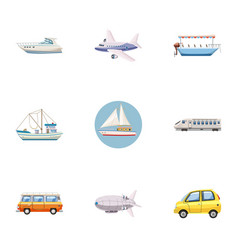 Carriage services icons set cartoon style vector