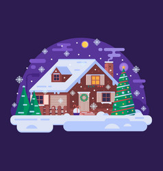Cartoon christmas house by snowy winter night vector