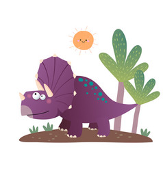 Cartoon triceratops dinosaur vector