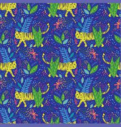 childish tiger seamless pattern vector image