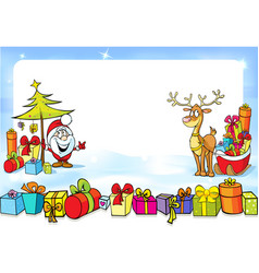 christmas frame with Santa Claus sleights many vector image