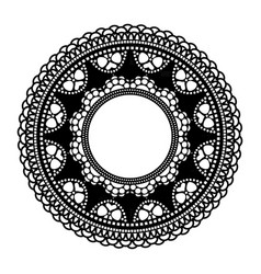 Circular openwork frame lace element isolated on vector