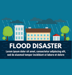 City flood disaster concept banner flat style vector