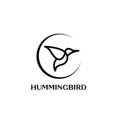 colibri or hummingbird logo design with simple vector image