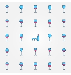 Colorful wine glasses icons vector image