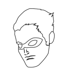 Comic style male superheroe with mask icon vector