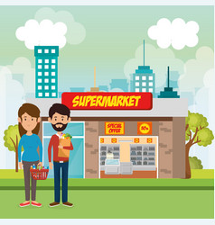 couple outside supermarket building scene vector image