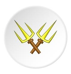Crossed tridents icon cartoon style vector image